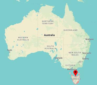 Image of Tasmania on a map